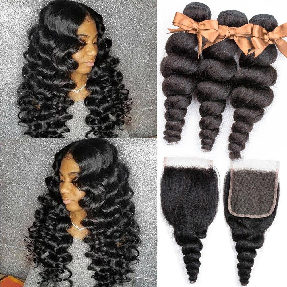 Beaudiva Hair Brazilian Hair Weave Bundles With Closure Remy Human Hair 3 Bundles With Closure Loose Wave Bundles With Closure